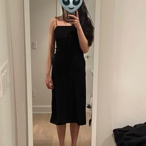 Aritzia Black midi dress with left side slit from